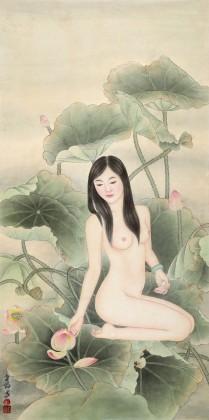 刘金前 三尺《夏日荷塘》 著名仕女画家