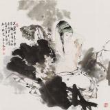 李立辰 四尺斗方《芙蓉美人图》河北著名仕女画家(询价)