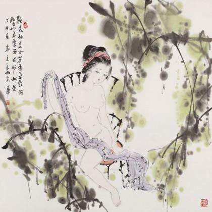 李立辰 四尺斗方《豆蔻年华》河北著名仕女画家(询价)