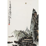 王永刚 四尺三开手指画《月圆时候诗思多》 国家一级美术师(询价)