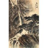 【已售】何实 四尺三开《观瀑图》 吉林著名山水画家