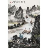 【已售】申凌翔 四尺三开《登高远望山水间》 广西山水画名家