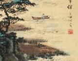 【已售】何实 四尺三开《扁舟来往无牵绊》 吉林著名山水画家