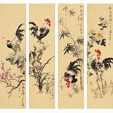 皇甫小喜 四条屏《雄鸡大吉》 河南著名花鸟画家