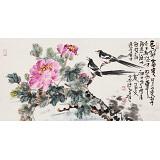 【已售】曲逸之 三尺《喜鹊登枝 花开富贵》 河南省著名花鸟画家