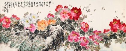 【已售】曲逸之 小八尺《千娇万态破朝霞》 河南省著名花鸟画家图片