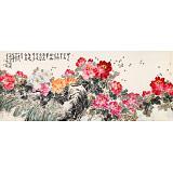 【已售】曲逸之 小八尺《千娇万态破朝霞》 河南省著名花鸟画家