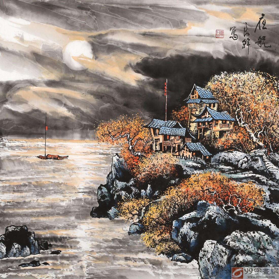 看他的画,山里人家,田园风光,一雉一牛,一水一舟,充满诗情画意,画如诗