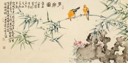 曲逸之 四尺《平安图》 河南省著名花鸟画家图片