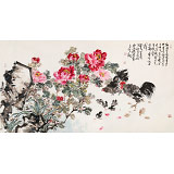 曲逸之 六尺《牡丹花品冠群芳》 河南省著名花鸟画家
