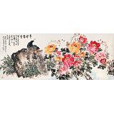 曲逸之 小八尺《花开富贵》 河南省著名花鸟画家