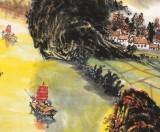 【已售】申凌翔 四尺三开《金秋霞影 山水如画》 广西最新博彩大全名家