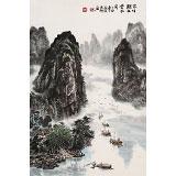 申凌翔 四尺三开《家住漓江云水间 》 广西山水画名家