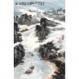 【已售】申凌翔 四尺三开《行舟穿雾过山崖》 广西山水画名家