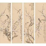 【已售】皇甫小喜 四条屏《腊梅寒雀》 河南著名花鸟画家