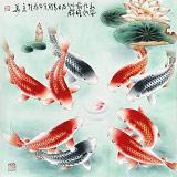 【已售】南海禅寺 妙林居士 四尺斗方《和风九如 前程似锦》
