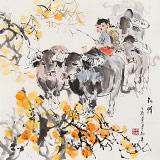 【已售】尹和平 四尺斗方《秋情》 当代乡土童趣绘画名家