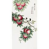 北京美协凌雪四尺国画桃《馨香长寿》