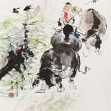 尹和平 四尺斗方《春风》 当代乡土童趣绘画名家