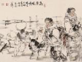 杨西沐 六尺对开《高原风情》 东方书画院名誉院长