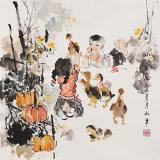 【已售】尹和平 四尺斗方《小宝贝》 当代乡土童趣绘画名家