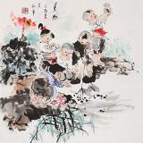 尹和平 四尺斗方《夏趣》 当代乡土童趣绘画名家