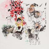 尹和平 四尺斗方《羊妞》 当代乡土童趣绘画名家