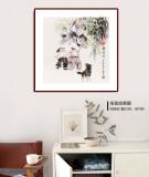 尹和平 四尺斗方《戏鹅图》 当代乡土童趣绘画名家