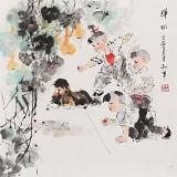 尹和平 四尺斗方《弹球》 当代乡土童趣绘画名家
