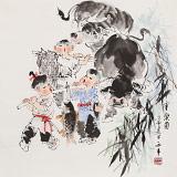 【已售】尹和平 四尺斗方《童乐图》 当代乡土童趣绘画名家