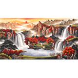 【已售】吴东 六尺《万山红遍》 著名易经风水画家