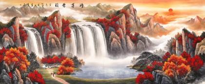 吴东 小八尺《鸿运当头》 著名易经风水画家