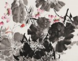 王宝钦 小六尺《连年有余》当代花鸟牡丹画名家(询价)