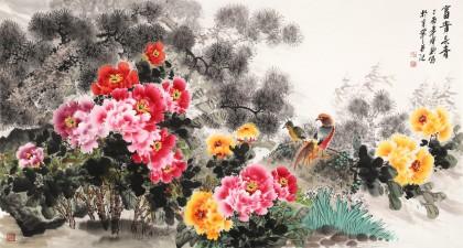 王宝钦六尺《富贵长青》当代花鸟牡丹画名家(询价)