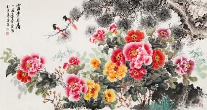 王宝钦六尺《富贵长寿》当代花鸟牡丹画名家(询价)