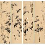 皇甫小喜 四条屏《一片绿荫如洗》 河南著名花鸟画家