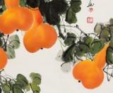 【已售】黄艺四尺斗方招财辟邪葫芦画《五福临门》