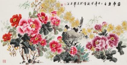 【已售】王宝钦四尺《喜事多多》当代花鸟牡丹画名家(询价)