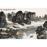 【已售】申凌翔 四尺三开《故乡的河》 广西山水画名家