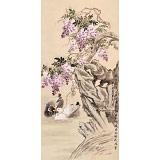 皇甫小喜 四尺《遥闻碧潭上 春晚紫藤开》 河南著名花鸟画家