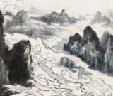 申凌翔 四尺三开《漓江云山图》 广西最新博彩大全名家