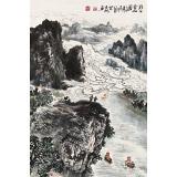 申凌翔 四尺三开《漓江云山图》 广西山水画名家
