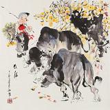 尹和平 四尺斗方《牧归》 当代乡土童趣绘画名家