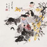 【已售】尹和平 四尺斗方《五月情》 当代乡土童趣绘画名家