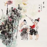 尹和平 四尺斗方《童趣》 当代乡土童趣绘画名家