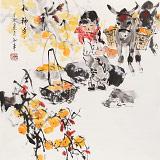 尹和平 四尺斗方《秋柿多多》 当代乡土童趣绘画名家