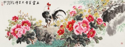 【已售】王宝钦 小六尺《玉堂富贵》当代花鸟牡丹画名家(询价)
