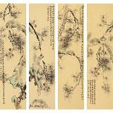 皇甫小喜 四条屏《松荫野趣》 河南著名花鸟画家