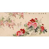 【已售】皇甫小喜 四尺《花开月圆》 河南著名花鸟画家
