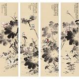 【已售】皇甫小喜 四条屏《清荷图》 河南著名花鸟画家